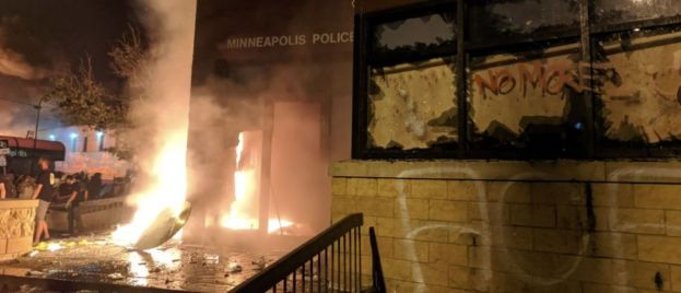 Minneapolis 3rd Police Precinct On Fire After Officers Abandon Building Amid George Floyd Riots